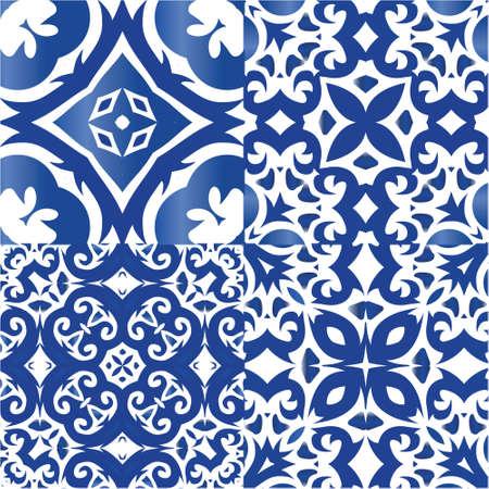 Ornamental azulejo portugal tiles decor. Minimal design. Set of vector seamless patterns. Blue gorgeous flower folk prints for linens, smartphone cases, scrapbooking, bags or T-shirts.