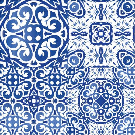 Decorative color ceramic azulejo tiles. Universal design. Kit of vector seamless patterns. Blue folk ethnic ornaments for print, web background, surface texture, towels, pillows, wallpaper. Vetores