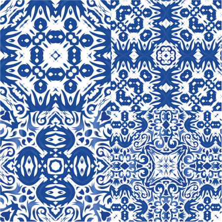 Ethnic ceramic tiles in portuguese azulejo. Hand drawn design. Collection of vector seamless patterns. Blue vintage ornaments for surface texture, towels, pillows, wallpaper, print, web background.