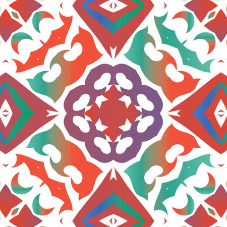 Ethnic ceramic tile in mexican talavera. Vector seamless pattern collage. Colored design. Red vintage ornament for surface texture, towels, pillows, wallpaper, print, web background. 向量圖像