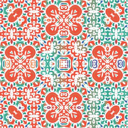 Decorative color ceramic talavera tiles. Geometric design. Vector seamless pattern illustration. Red folk ethnic ornament for print, web background, surface texture, towels, pillows, wallpaper. 向量圖像
