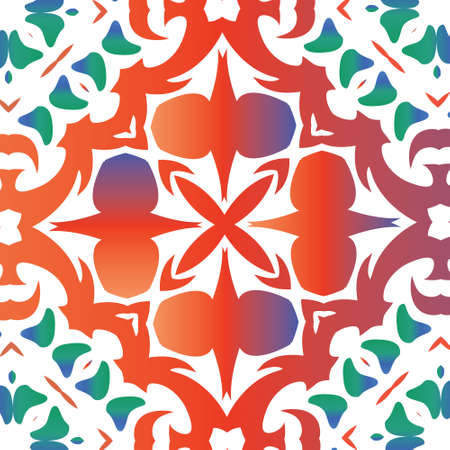 Antique talavera tiles patchwork. Vector seamless pattern template. Modern design. Red mexican ornamental  decor for bags, smartphone cases, T-shirts, linens or scrapbooking. 向量圖像