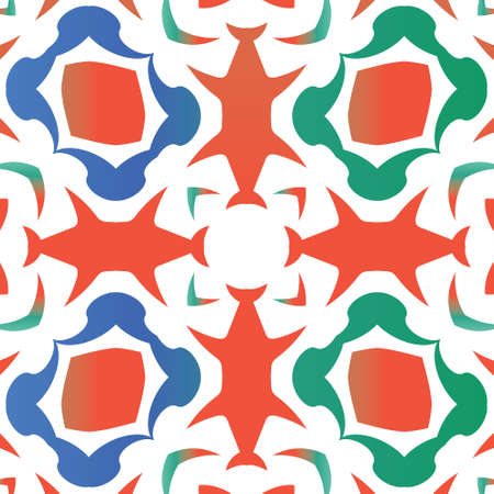 Antique mexican talavera ceramic. Bathroom design. Vector seamless pattern frame. Red floral and abstract decor for scrapbooking, smartphone cases, T-shirts, bags or linens. 向量圖像