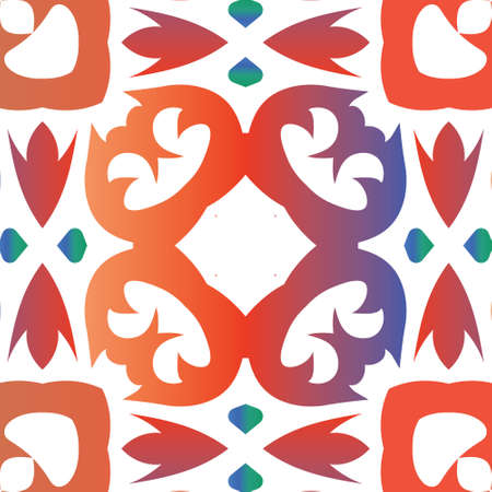 Ornamental talavera mexico tiles decor. Vector seamless pattern trellis. Fashionable design. Red gorgeous flower folk print for linens, smartphone cases, scrapbooking, bags or T-shirts.