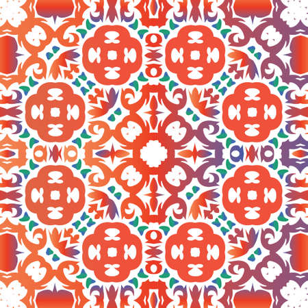 Ethnic ceramic tile in mexican talavera. Vector seamless pattern trellis. Graphic design. Red vintage ornament for surface texture, towels, pillows, wallpaper, print, web background. 向量圖像