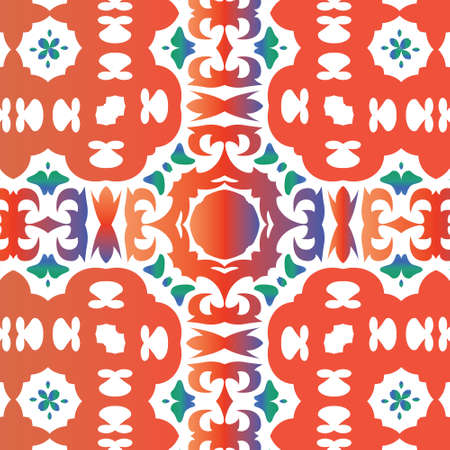 Antique mexican talavera ceramic. Stylish design. Vector seamless pattern arabesque. Red floral and abstract decor for scrapbooking, smartphone cases, T-shirts, bags or linens. 向量圖像