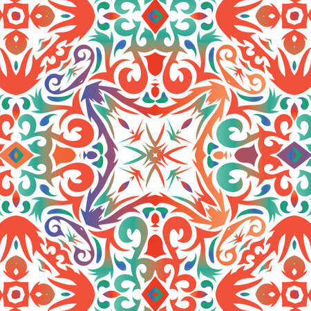 Antique mexican talavera ceramic. Universal design. Vector seamless pattern trellis. Red floral and abstract decor for scrapbooking, smartphone cases, T-shirts, bags or linens.
