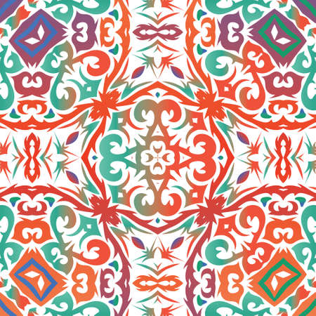 Ethnic ceramic tile in mexican talavera. Vector seamless pattern theme. Hand drawn design. Red vintage ornament for surface texture, towels, pillows, wallpaper, print, web background.