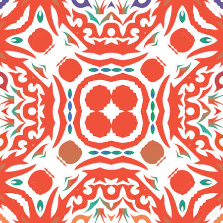 Ornamental talavera mexico tiles decor. Vector seamless pattern trellis. Universal design. Red gorgeous flower folk print for linens, smartphone cases, scrapbooking, bags or T-shirts.