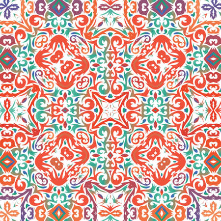 Ornamental talavera mexico tiles decor. Kitchen design. Vector seamless pattern concept. Red gorgeous flower folk print for linens, smartphone cases, scrapbooking, bags or T-shirts.