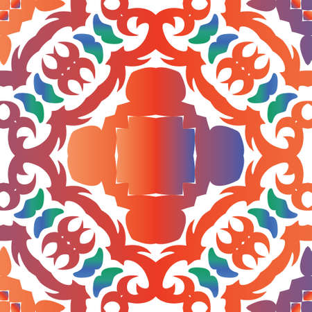 Traditional ornate mexican talavera. Geometric design. Vector seamless pattern elements. Red abstract background for web backdrop, print, pillows, surface texture, wallpaper, towels. 向量圖像