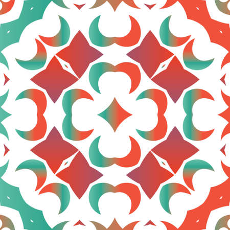 Decorative color ceramic talavera tiles. Kitchen design. Vector seamless pattern arabesque. Red folk ethnic ornament for print, web background, surface texture, towels, pillows, wallpaper.