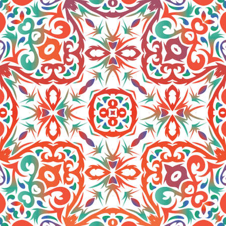 Antique ornate tiles talavera mexico. Fashionable design. Vector seamless pattern template. Red ethnic background for T-shirts, scrapbooking, linens, smartphone cases or bags.