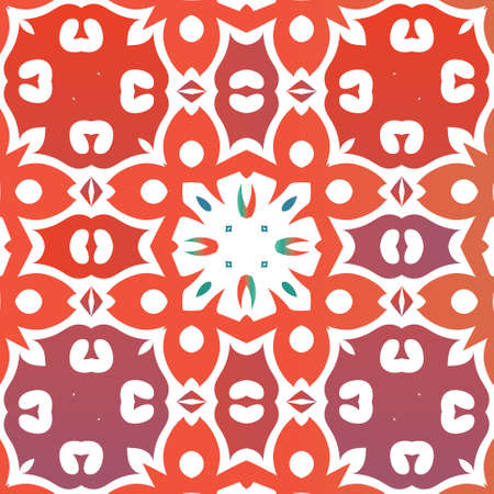 Mexican vintage talavera tiles. Vector seamless pattern illustration. Modern design. Red antique background for pillows, print, wallpaper, web backdrop, towels, surface texture. 向量圖像