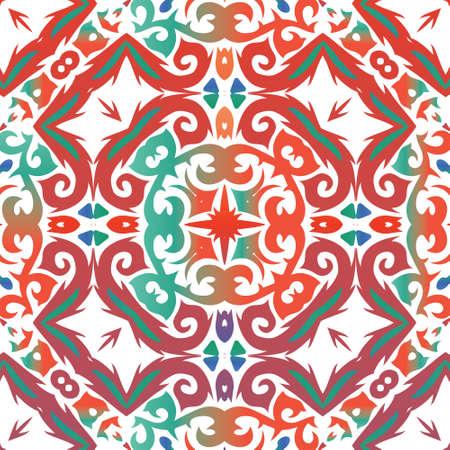 Decorative color ceramic talavera tiles. Vector seamless pattern trellis. Original design. Red folk ethnic ornament for print, web background, surface texture, towels, pillows, wallpaper.