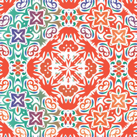 Antique talavera tiles patchwork. Vector seamless pattern trellis. Colored design. Red mexican ornamental  decor for bags, smartphone cases, T-shirts, linens or scrapbooking.