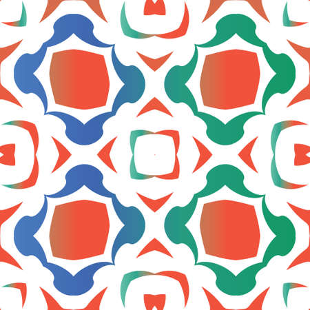 Antique mexican talavera ceramic. Vector seamless pattern texture. Original design. Red floral and abstract decor for scrapbooking, smartphone cases, T-shirts, bags or linens. 向量圖像