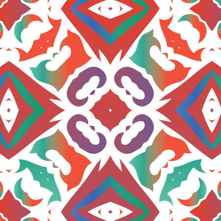 Ornamental talavera mexico tiles decor. Vector seamless pattern texture. Colored design. Red gorgeous flower folk print for linens, smartphone cases, scrapbooking, bags or T-shirts. 向量圖像