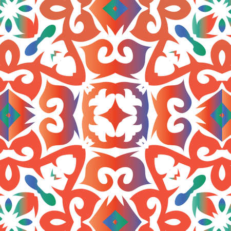 Traditional ornate mexican talavera. Vector seamless pattern texture. Modern design. Red abstract background for web backdrop, print, pillows, surface texture, wallpaper, towels.