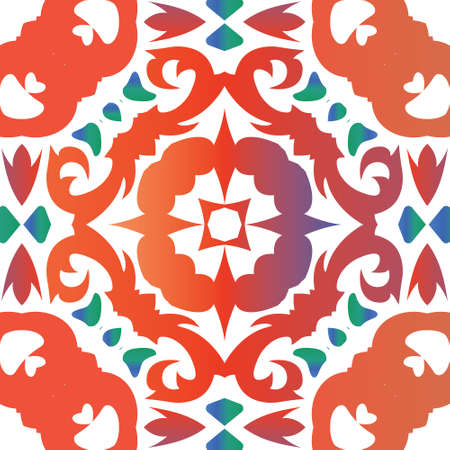 Decorative color ceramic talavera tiles. Colored design. Vector seamless pattern template. Red folk ethnic ornament for print, web background, surface texture, towels, pillows, wallpaper. 向量圖像