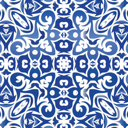 Traditional ornate portuguese azulejo. Vector seamless pattern elements. Modern design. Blue abstract background for web backdrop, print, pillows, surface texture, wallpaper, towels.