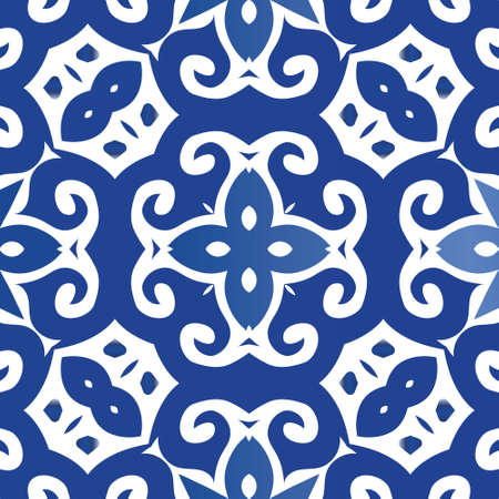 Antique azulejo tiles patchwork. Stylish design. Vector seamless pattern trellis. Blue spain and portuguese decor for bags, smartphone cases, T-shirts, linens or scrapbooking.