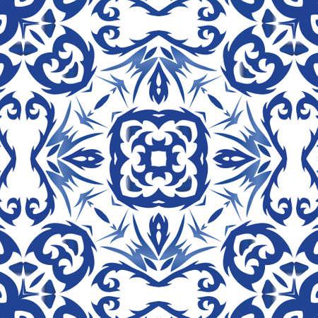 Ornamental azulejo portugal tiles decor. Bathroom design. Vector seamless pattern poster. Blue gorgeous flower folk print for linens, smartphone cases, scrapbooking, bags or T-shirts.