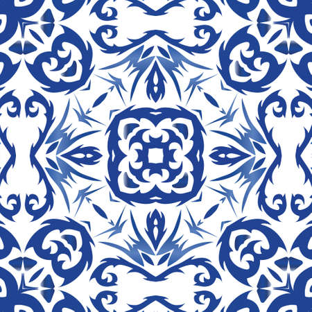 Ornamental azulejo portugal tiles decor. Bathroom design. Vector seamless pattern poster. Blue gorgeous flower folk print for linens, smartphone cases, scrapbooking, bags or T-shirts.