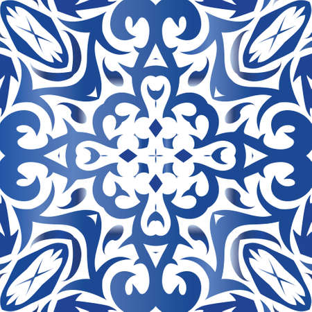 Ceramic tiles azulejo portugal. Modern design. Vector seamless pattern concept. Blue ethnic background for T-shirts, scrapbooking, linens, smartphone cases or bags. Vektorgrafik