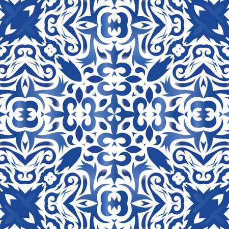 Decorative color ceramic azulejo tiles. Vector seamless pattern illustration. Creative design. Blue folk ethnic ornament for print, web background, surface texture, towels, pillows, wallpaper.