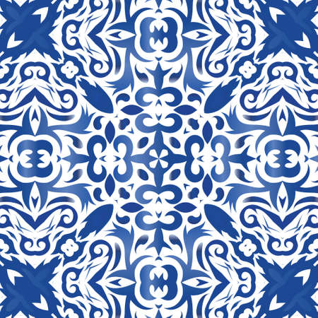 Decorative color ceramic azulejo tiles. Vector seamless pattern illustration. Creative design. Blue folk ethnic ornament for print, web background, surface texture, towels, pillows, wallpaper.