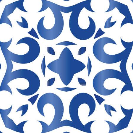 Ceramic tiles azulejo portugal. Vector seamless pattern texture. Original design. Blue ethnic background for T-shirts, scrapbooking, linens, smartphone cases or bags. Vektorgrafik