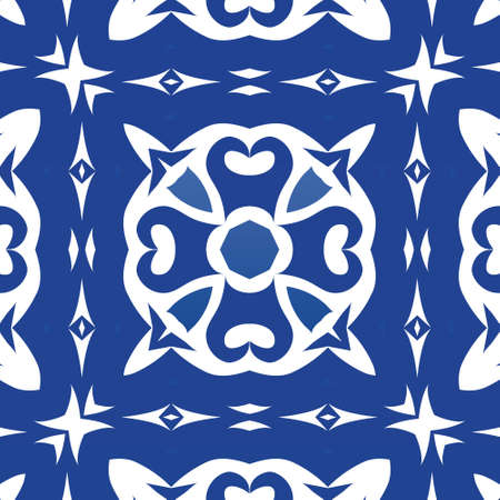 Portuguese ornamental azulejo ceramic. Vector seamless pattern arabesque. Hand drawn design. Blue vintage backdrop for wallpaper, web background, towels, print, surface texture, pillows.