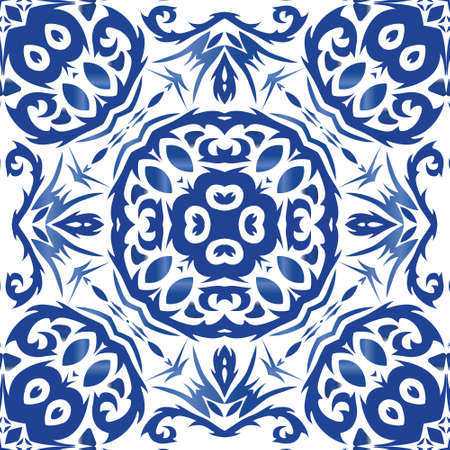 Traditional ornate portuguese azulejo. Graphic design. Vector seamless pattern frame. Blue abstract background for web backdrop, print, pillows, surface texture, wallpaper, towels.