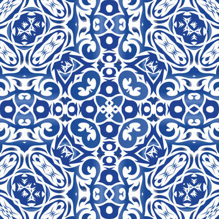 Ethnic ceramic tile in portuguese azulejo. Creative design. Vector seamless pattern concept. Blue vintage ornament for surface texture, towels, pillows, wallpaper, print, web background.
