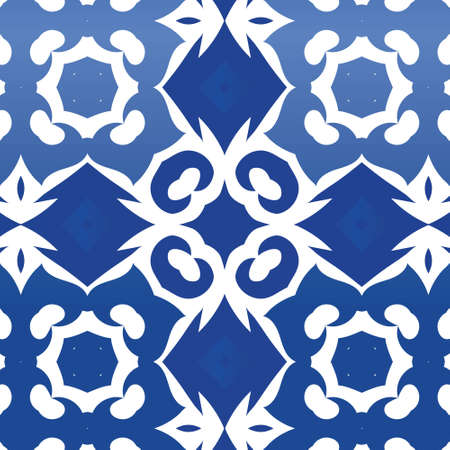 Antique portuguese azulejo ceramic. Vector seamless pattern frame. Fashionable design. Blue floral and abstract decor for scrapbooking, smartphone cases, T-shirts, bags or linens.