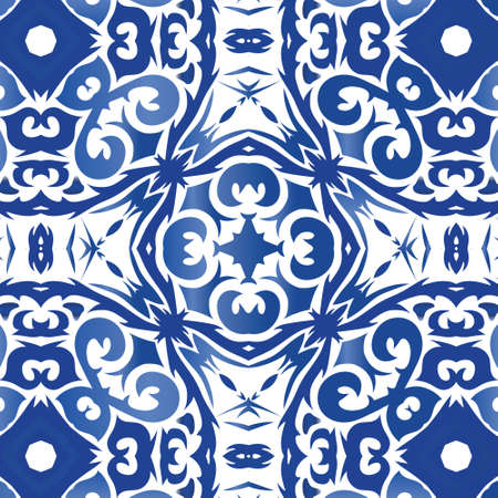 Antique portuguese azulejo ceramic. Creative design. Vector seamless pattern flyer. Blue floral and abstract decor for scrapbooking, smartphone cases, T-shirts, bags or linens.