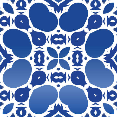 Antique portuguese azulejo ceramic. Minimal design. Vector seamless pattern flyer. Blue floral and abstract decor for scrapbooking, smartphone cases, T-shirts, bags or linens.