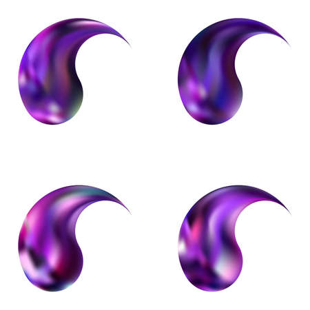 Set of gradient backgrounds with yin or yang. Harmonious original east style. Trendy soft color illustration. Violet modern, natural covers for your creative projects and graphic design.