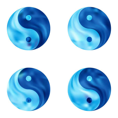 Kit of chromatic backgrounds with yin yang. Buddhist original liquid backdrop. Trendy soft color theme. Blue effective modern screen design for brochure, calendar, cards or invitation. Vectores