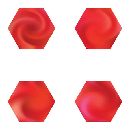 Kit of hexagonal blurred backgrounds. Holographic style of 90th, 80th. Trendy soft color element. Red modern abstract covers for your graphic design or creative projects. Vectores