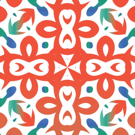 Mexican vintage talavera tiles. Minimal design. Vector seamless pattern trellis. Red antique background for pillows, print, wallpaper, web backdrop, towels, surface texture.