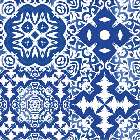 Antique azulejo tiles patchworks. Original design. Set of vector seamless patterns. Blue spain and portuguese decor for bags, smartphone cases, T-shirts, linens or scrapbooking.