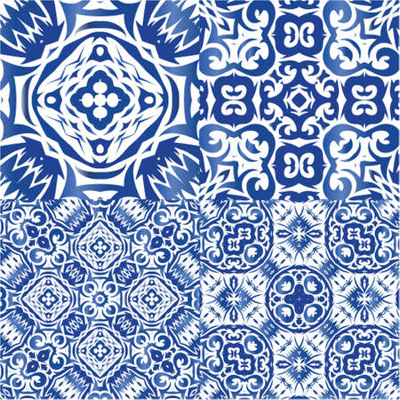 Portuguese ornamental azulejo ceramic. Creative design. Set of vector seamless patterns. Blue vintage backdrops for wallpaper, web background, towels, print, surface texture, pillows.