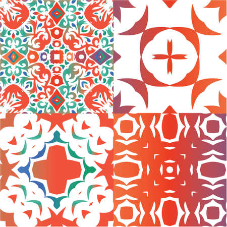 Ethnic ceramic tiles in mexican talavera. Minimal design. Collection of vector seamless patterns. Red vintage ornaments for surface texture, towels, pillows, wallpaper, print, web background. Vectores