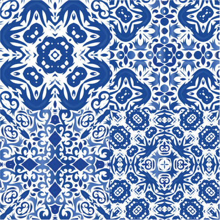 Ornamental azulejo portugal tiles decor. Modern design. Collection of vector seamless patterns. Blue gorgeous flower folk prints for linens, smartphone cases, scrapbooking, bags or T-shirts.