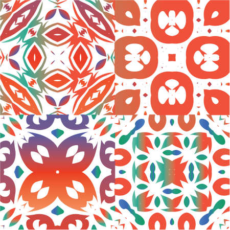 Antique mexican talavera ceramic. Original design. Set of vector seamless patterns. Red floral and abstract decor for scrapbooking, smartphone cases, T-shirts, bags or linens.