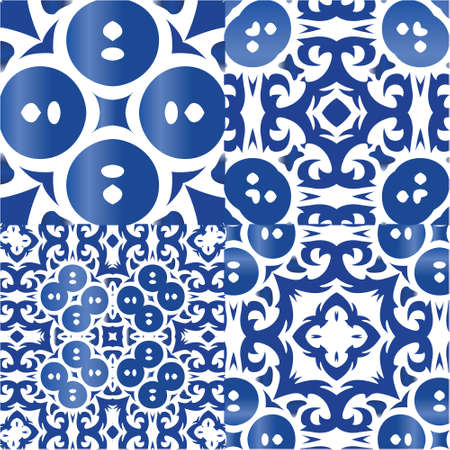 Portuguese ornamental azulejo ceramic. Stylish design. Collection of vector seamless patterns. Blue vintage backdrops for wallpaper, web background, towels, print, surface texture, pillows. Vectores
