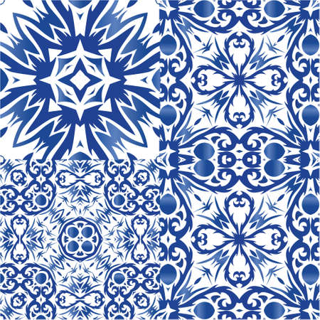 Ceramic tiles azulejo portugal. Collection of vector seamless patterns. Fashionable design. Blue ethnic backgrounds for T-shirts, scrapbooking, linens, smartphone cases or bags. Vectores