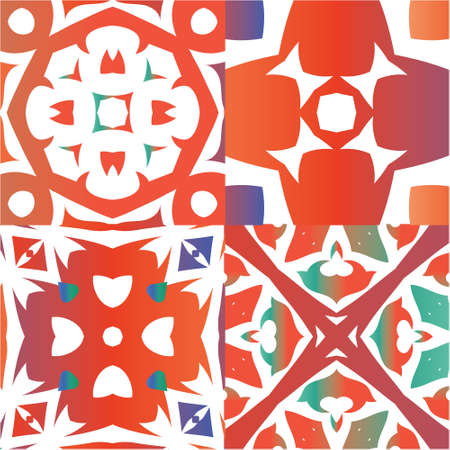 Ethnic ceramic tiles in mexican talavera. Kitchen design. Set of vector seamless patterns. Red vintage ornaments for surface texture, towels, pillows, wallpaper, print, web background. Vectores